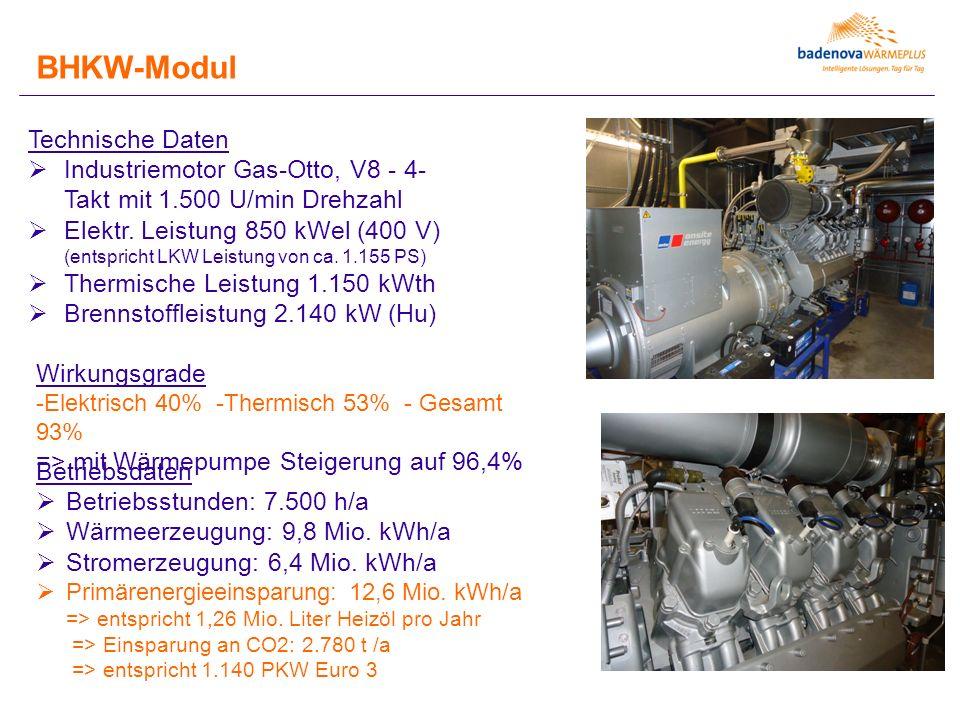 BHKW-Modul Technische Daten  Industriemotor Gas-Otto, V8 - 4- Takt mit 1.500 U/min Drehzahl  Elektr. Leistung 850 kWel (400 V) (entspricht LKW Leist