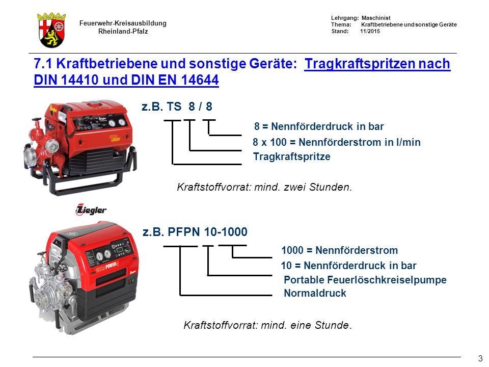 Lehrgang: Maschinist Thema: Kraftbetriebene und sonstige Geräte Stand: 11/2015 Feuerwehr-Kreisausbildung Rheinland-Pfalz 3 7.1 Kraftbetriebene und sonstige Geräte: Tragkraftspritzen nach DIN 14410 und DIN EN 14644 z.B.