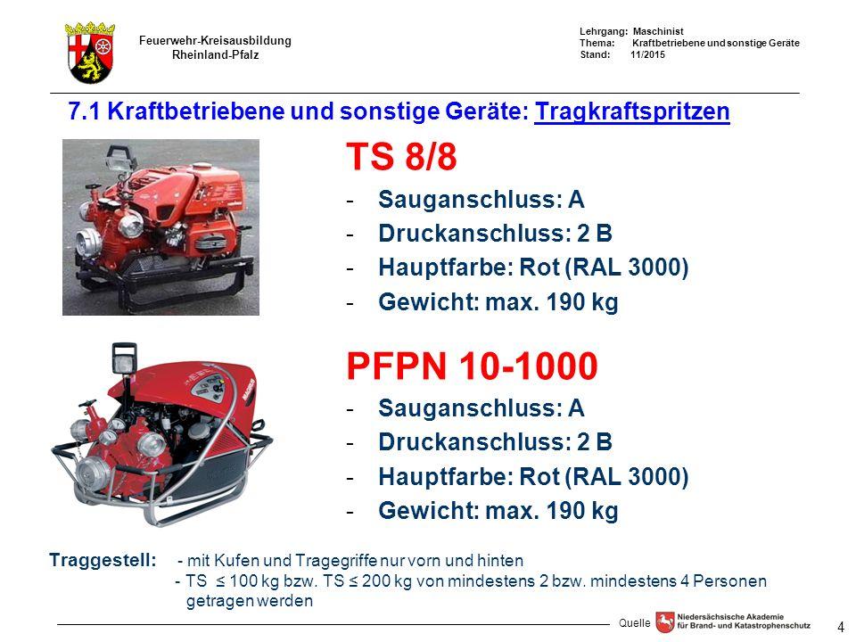 Lehrgang: Maschinist Thema: Kraftbetriebene und sonstige Geräte Stand: 11/2015 Feuerwehr-Kreisausbildung Rheinland-Pfalz 4 7.1 Kraftbetriebene und sonstige Geräte: Tragkraftspritzen TS 8/8 -Sauganschluss: A -Druckanschluss: 2 B -Hauptfarbe: Rot (RAL 3000) -Gewicht: max.