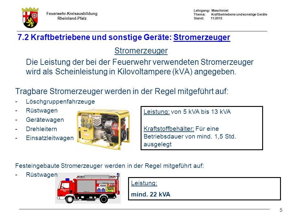 Lehrgang: Maschinist Thema: Kraftbetriebene und sonstige Geräte Stand: 11/2015 Feuerwehr-Kreisausbildung Rheinland-Pfalz 5 7.2 Kraftbetriebene und sonstige Geräte: Stromerzeuger Stromerzeuger Die Leistung der bei der Feuerwehr verwendeten Stromerzeuger wird als Scheinleistung in Kilovoltampere (kVA) angegeben.