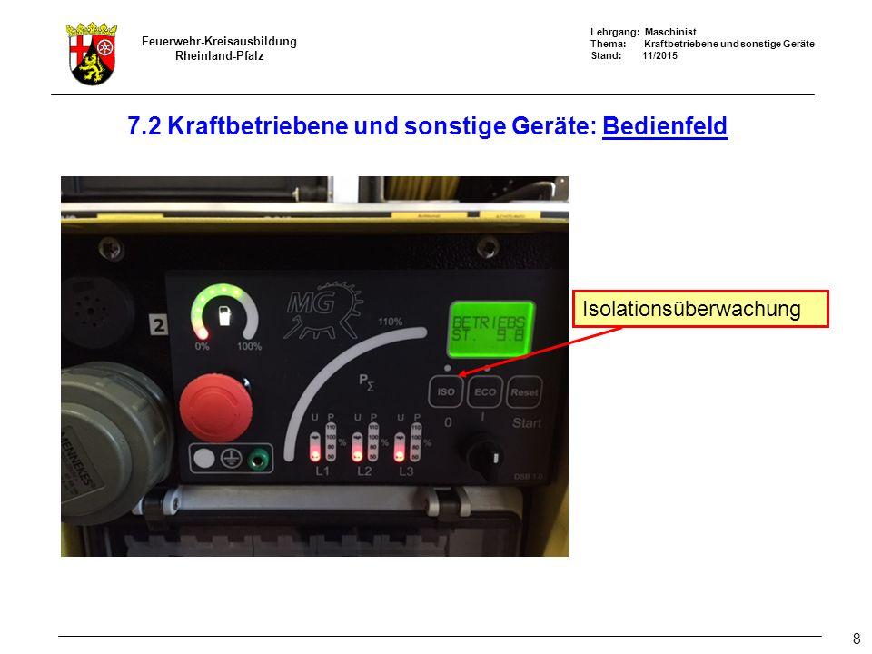Lehrgang: Maschinist Thema: Kraftbetriebene und sonstige Geräte Stand: 11/2015 Feuerwehr-Kreisausbildung Rheinland-Pfalz 8 7.2 Kraftbetriebene und sonstige Geräte: Bedienfeld Isolationsüberwachung