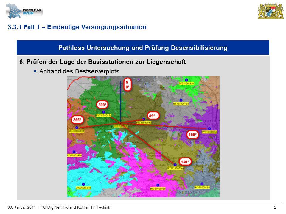 09. Januar 2014 | PG DigiNet | Roland Kohler| TP Technik 2 Pathloss Untersuchung und Prüfung Desensibilisierung 6. Prüfen der Lage der Basisstationen
