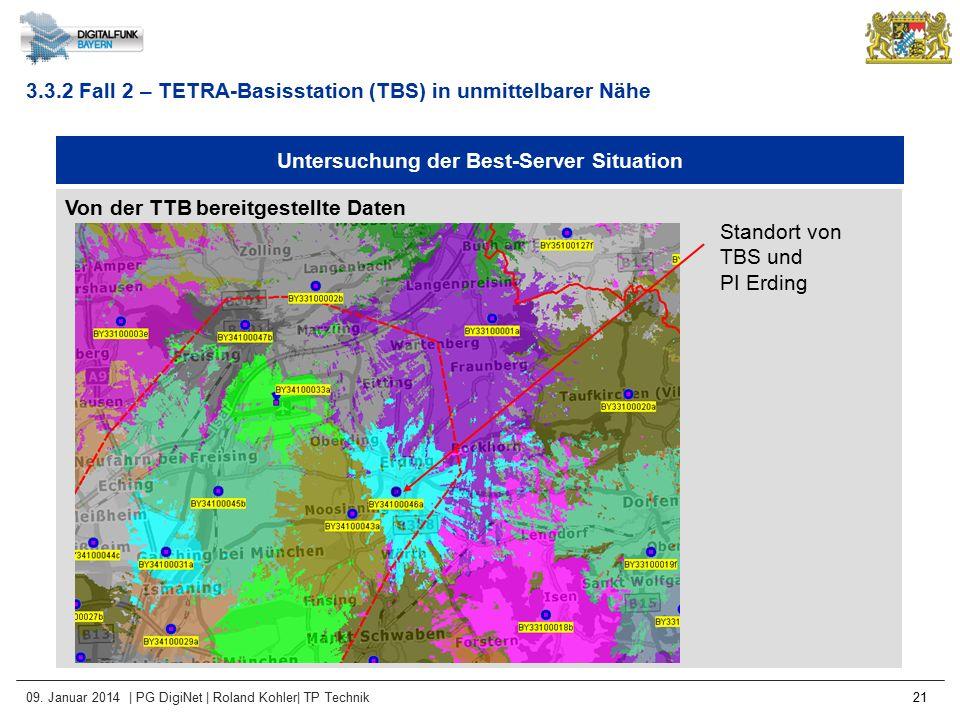 09. Januar 2014 | PG DigiNet | Roland Kohler| TP Technik 21 Untersuchung der Best-Server Situation Von der TTB bereitgestellte Daten 3.3.2 Fall 2 – TE