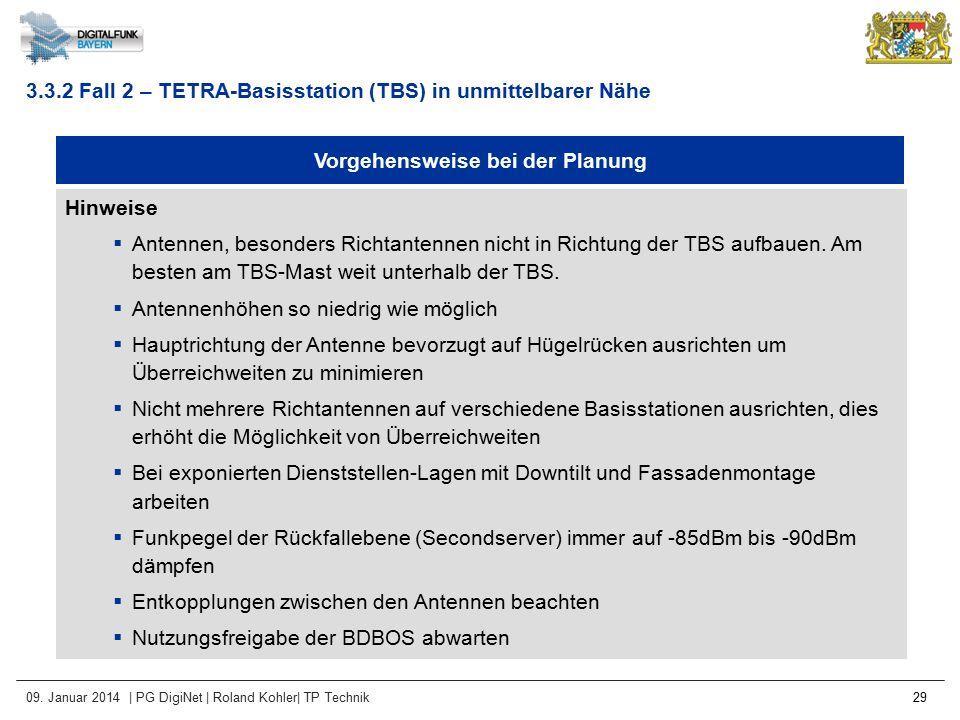 09. Januar 2014 | PG DigiNet | Roland Kohler| TP Technik 29 Vorgehensweise bei der Planung Hinweise  Antennen, besonders Richtantennen nicht in Richt