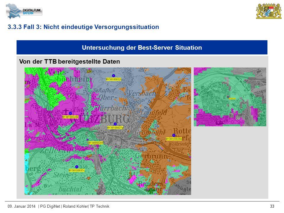 09. Januar 2014 | PG DigiNet | Roland Kohler| TP Technik 33 Untersuchung der Best-Server Situation Von der TTB bereitgestellte Daten 3.3.3 Fall 3: Nic