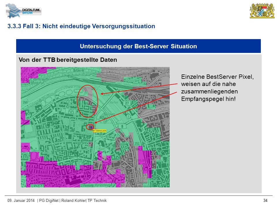 09. Januar 2014 | PG DigiNet | Roland Kohler| TP Technik 34 Untersuchung der Best-Server Situation Von der TTB bereitgestellte Daten 3.3.3 Fall 3: Nic