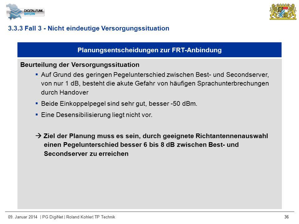 09. Januar 2014 | PG DigiNet | Roland Kohler| TP Technik 36 Planungsentscheidungen zur FRT-Anbindung Beurteilung der Versorgungssituation  Auf Grund