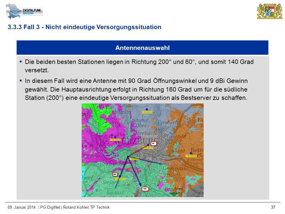09. Januar 2014 | PG DigiNet | Roland Kohler| TP Technik 37 Antennenauswahl  Die beiden besten Stationen liegen in Richtung 200° und 60°, und somit 1