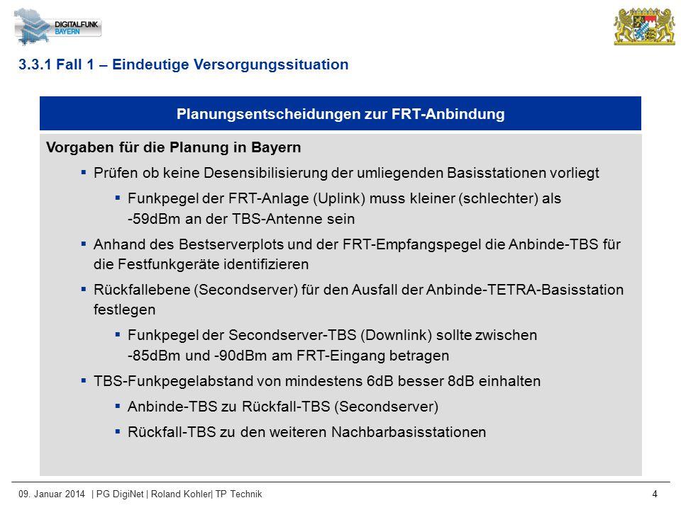 09. Januar 2014 | PG DigiNet | Roland Kohler| TP Technik 4 Planungsentscheidungen zur FRT-Anbindung Vorgaben für die Planung in Bayern  Prüfen ob kei