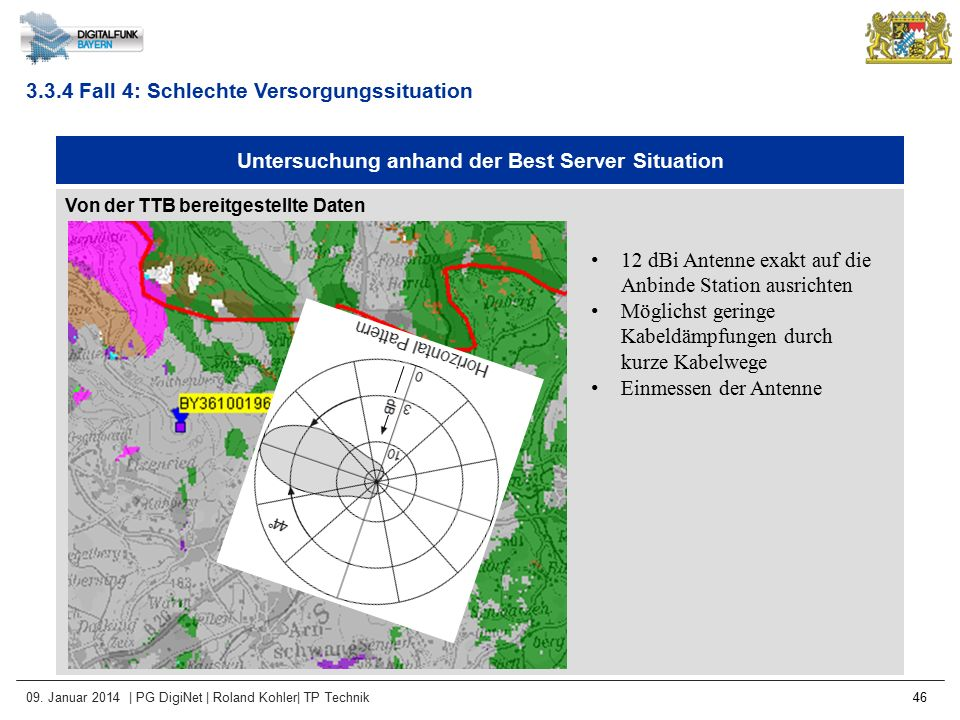 09. Januar 2014 | PG DigiNet | Roland Kohler| TP Technik 46 Untersuchung anhand der Best Server Situation Von der TTB bereitgestellte Daten 3.3.4 Fall
