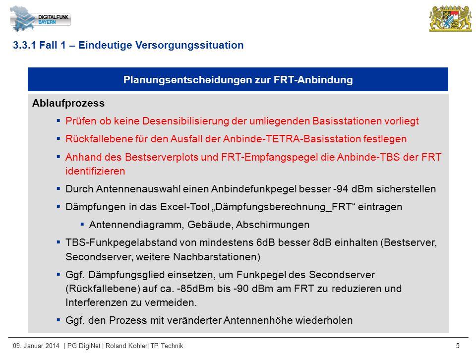 09. Januar 2014 | PG DigiNet | Roland Kohler| TP Technik 5 Planungsentscheidungen zur FRT-Anbindung Ablaufprozess  Prüfen ob keine Desensibilisierung