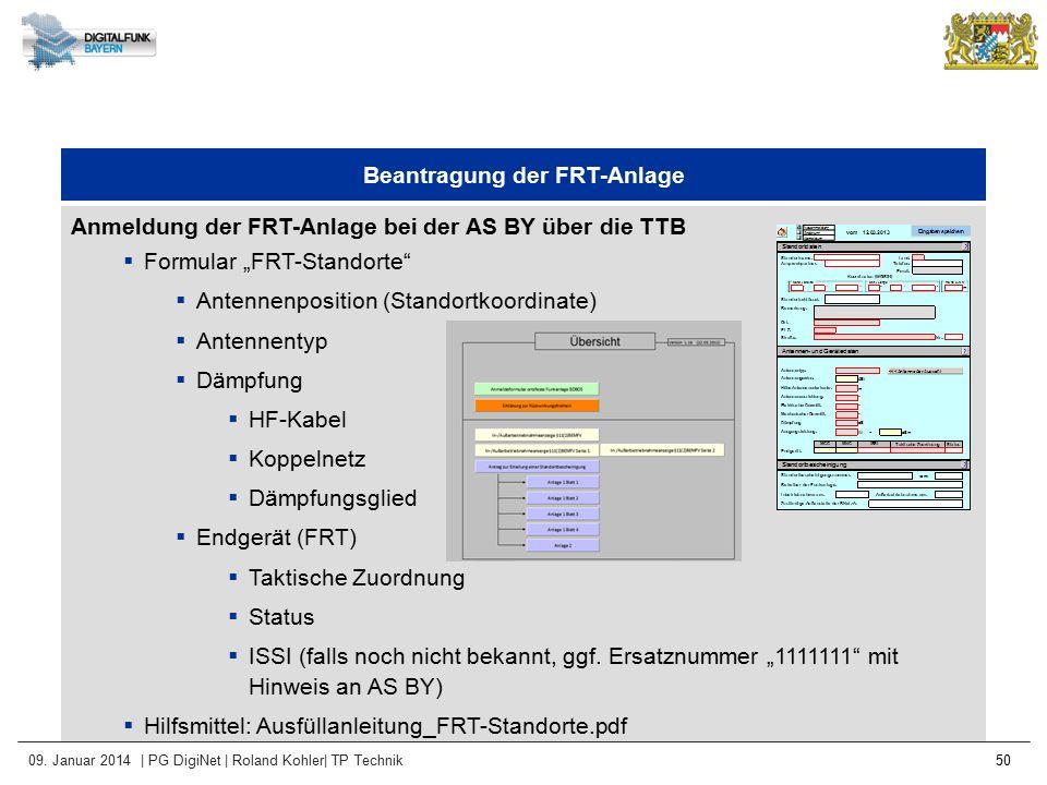 09. Januar 2014 | PG DigiNet | Roland Kohler| TP Technik 50 Beantragung der FRT-Anlage Anmeldung der FRT-Anlage bei der AS BY über die TTB  Formular