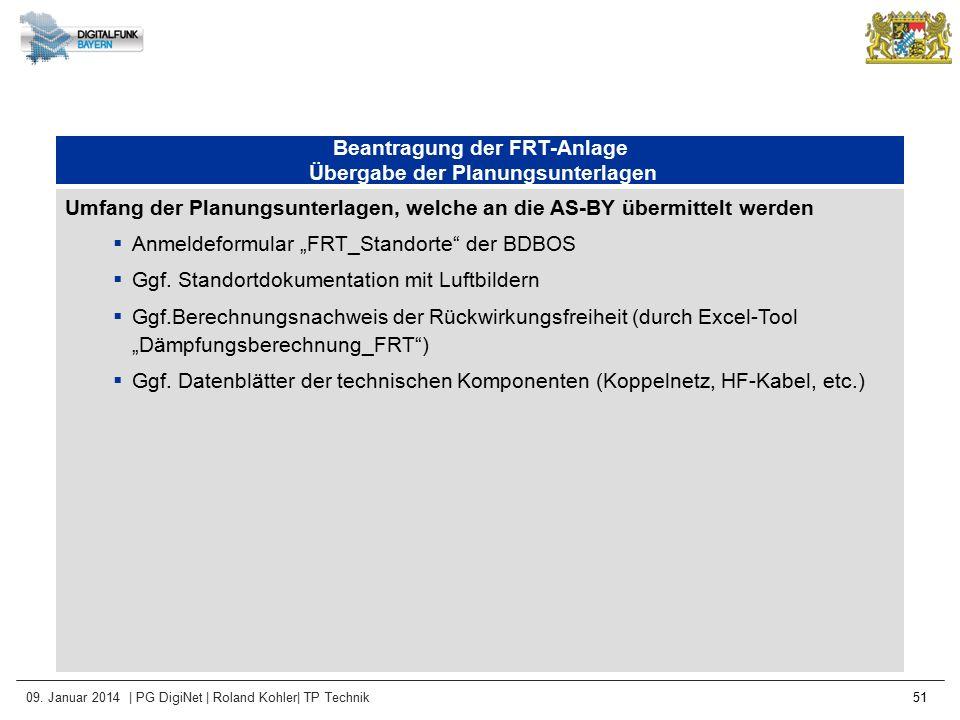 09. Januar 2014 | PG DigiNet | Roland Kohler| TP Technik 51 Beantragung der FRT-Anlage Übergabe der Planungsunterlagen Umfang der Planungsunterlagen,