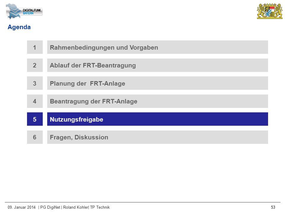 09. Januar 2014 | PG DigiNet | Roland Kohler| TP Technik 53 Agenda Rahmenbedingungen und Vorgaben1 Ablauf der FRT-Beantragung2 3Planung der FRT-Anlage