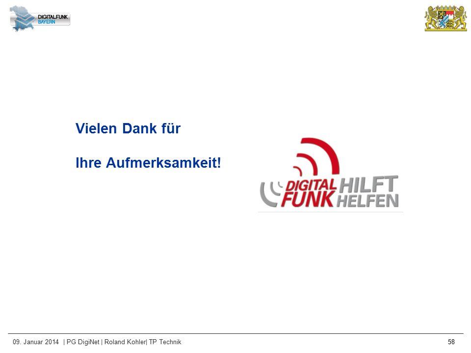 09. Januar 2014 | PG DigiNet | Roland Kohler| TP Technik 58 Vielen Dank für Ihre Aufmerksamkeit!