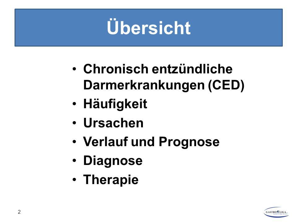 CED - Ursachen Genaue Ursache unbekannt (idiopathisch) Nicht ein Auslöser, mehrere Faktoren müssen zusammenkommen (multifaktoriell) Erbliche Veranlagung (genetische Disposition) Umweltfaktoren, z.