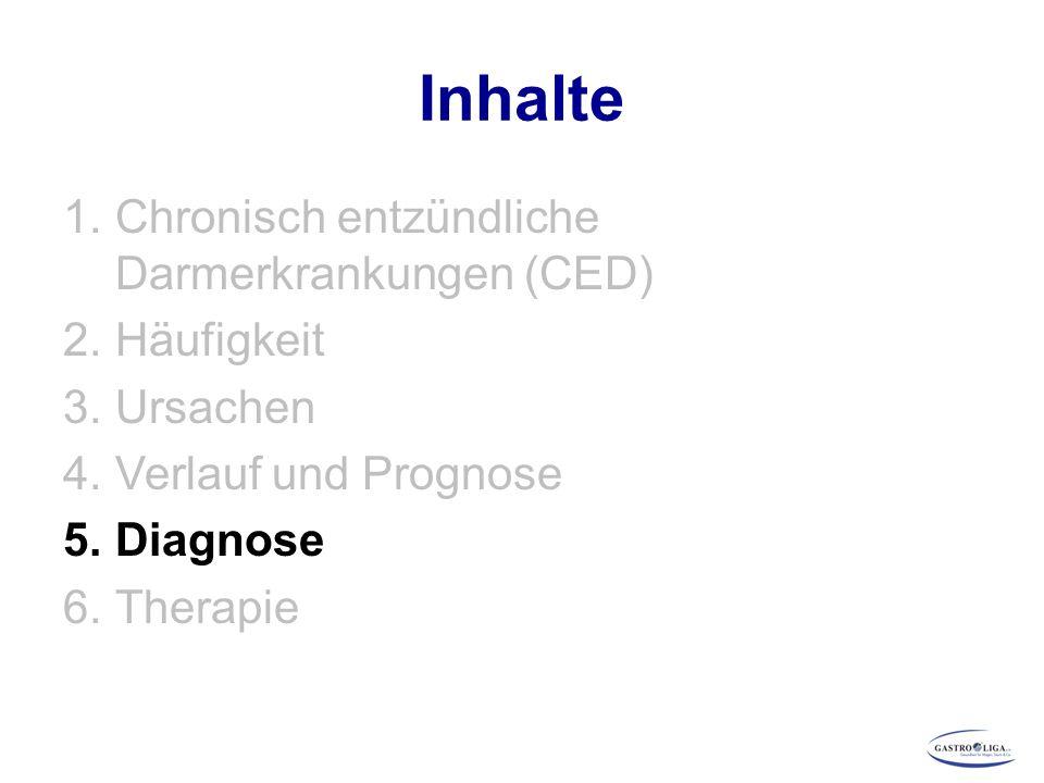 Inhalte 1.Chronisch entzündliche Darmerkrankungen (CED) 2.Häufigkeit 3.Ursachen 4.Verlauf und Prognose 5.Diagnose 6.Therapie