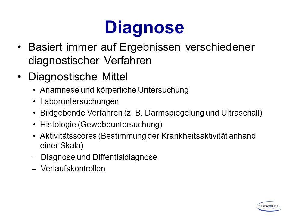 Diagnose Basiert immer auf Ergebnissen verschiedener diagnostischer Verfahren Diagnostische Mittel Anamnese und körperliche Untersuchung Laboruntersuc
