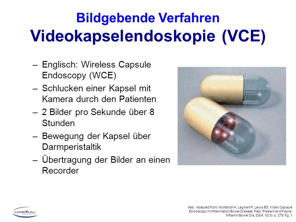 Bildgebende Verfahren Videokapselendoskopie (VCE) –Englisch: Wireless Capsule Endoscopy (WCE) –Schlucken einer Kapsel mit Kamera durch den Patienten –