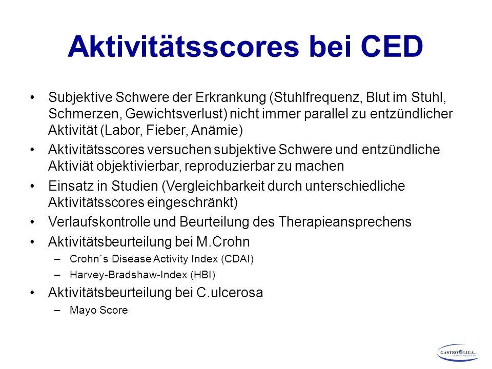 Aktivitätsscores bei CED Subjektive Schwere der Erkrankung (Stuhlfrequenz, Blut im Stuhl, Schmerzen, Gewichtsverlust) nicht immer parallel zu entzündl