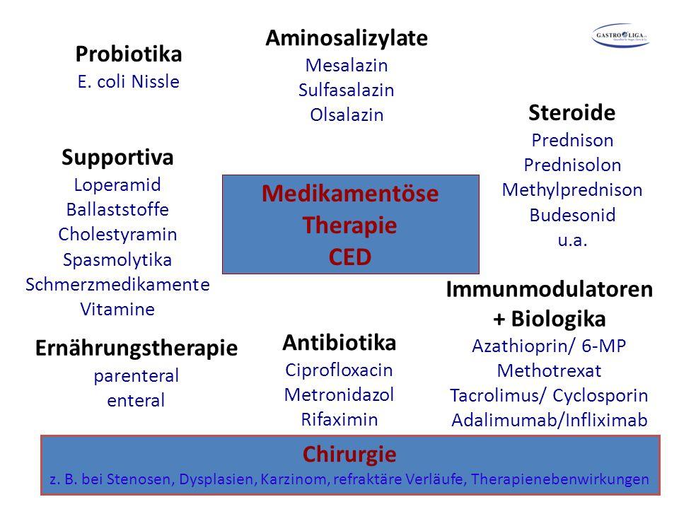 Medikamentöse Therapie CED Aminosalizylate Mesalazin Sulfasalazin Olsalazin Steroide Prednison Prednisolon Methylprednison Budesonid u.a. Supportiva L