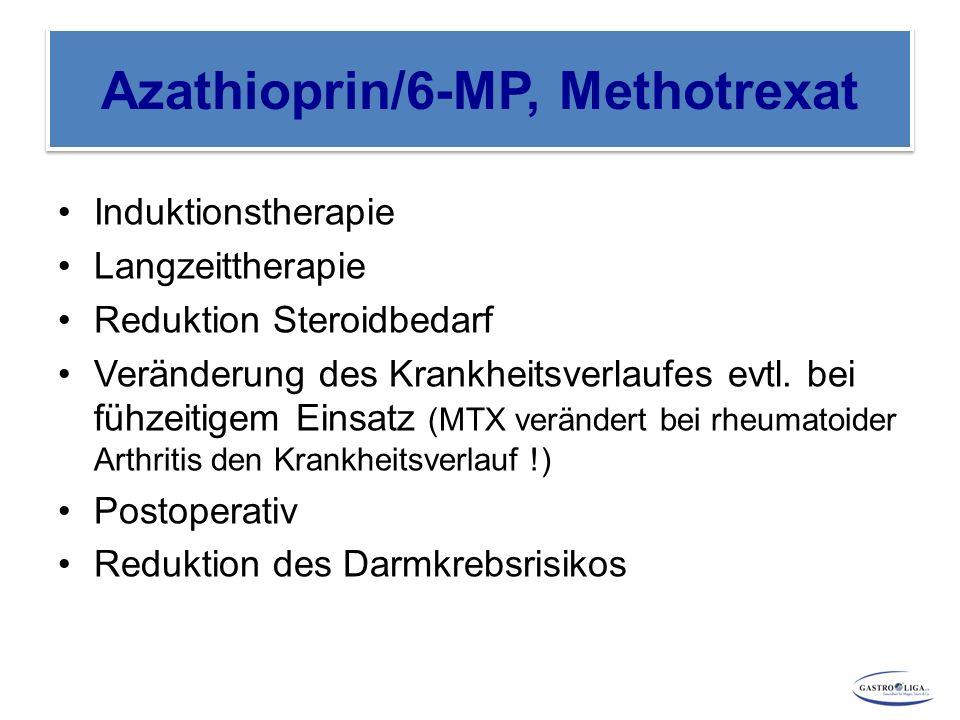 Azathioprin/6-MP, Methotrexat Induktionstherapie Langzeittherapie Reduktion Steroidbedarf Veränderung des Krankheitsverlaufes evtl. bei fühzeitigem Ei