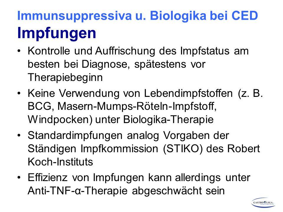 Immunsuppressiva u. Biologika bei CED Impfungen Kontrolle und Auffrischung des Impfstatus am besten bei Diagnose, spätestens vor Therapiebeginn Keine