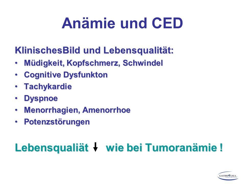 Anämie und CED KlinischesBild und Lebensqualität: Müdigkeit, Kopfschmerz, SchwindelMüdigkeit, Kopfschmerz, Schwindel Cognitive DysfunktonCognitive Dys