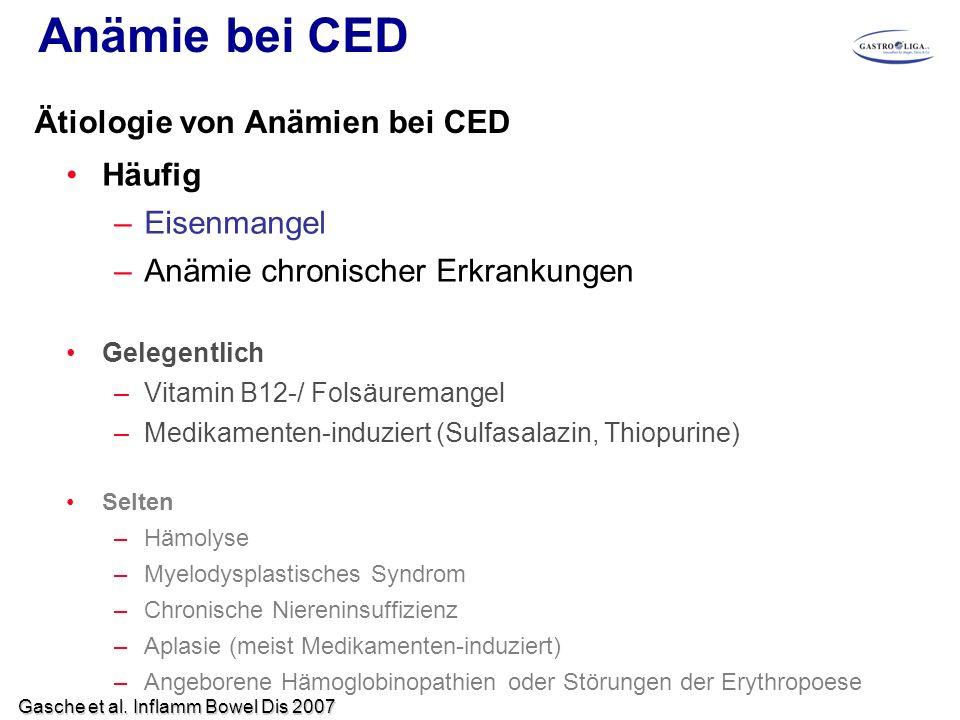 Anämie bei CED Häufig –Eisenmangel –Anämie chronischer Erkrankungen Gelegentlich –Vitamin B12-/ Folsäuremangel –Medikamenten-induziert (Sulfasalazin,