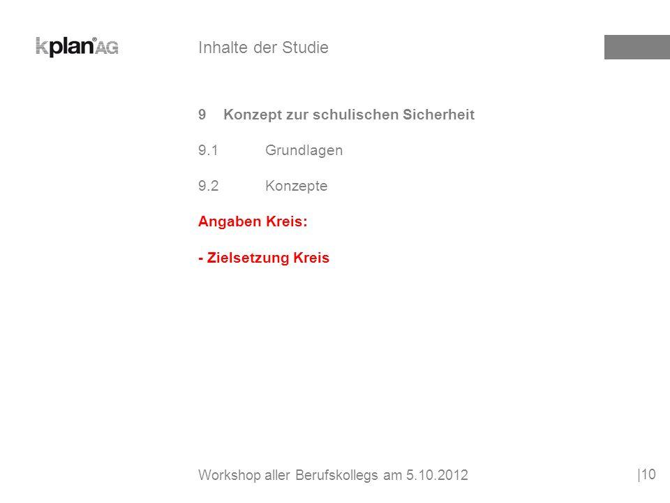 9Konzept zur schulischen Sicherheit 9.1Grundlagen 9.2Konzepte Angaben Kreis: - Zielsetzung Kreis |10 Inhalte der Studie Workshop aller Berufskollegs am 5.10.2012