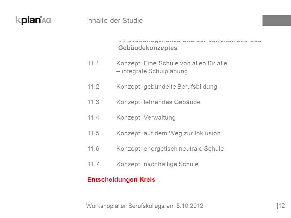 12Grobzeitplan 12.1Entscheidung 12.2Vergabekonzepte 12.3Planungsphase 12.4Bauphase 12.5Ablösung der alten Standorte und Inbetriebnahme |13 Inhalte der Studie Workshop aller Berufskollegs am 5.10.2012