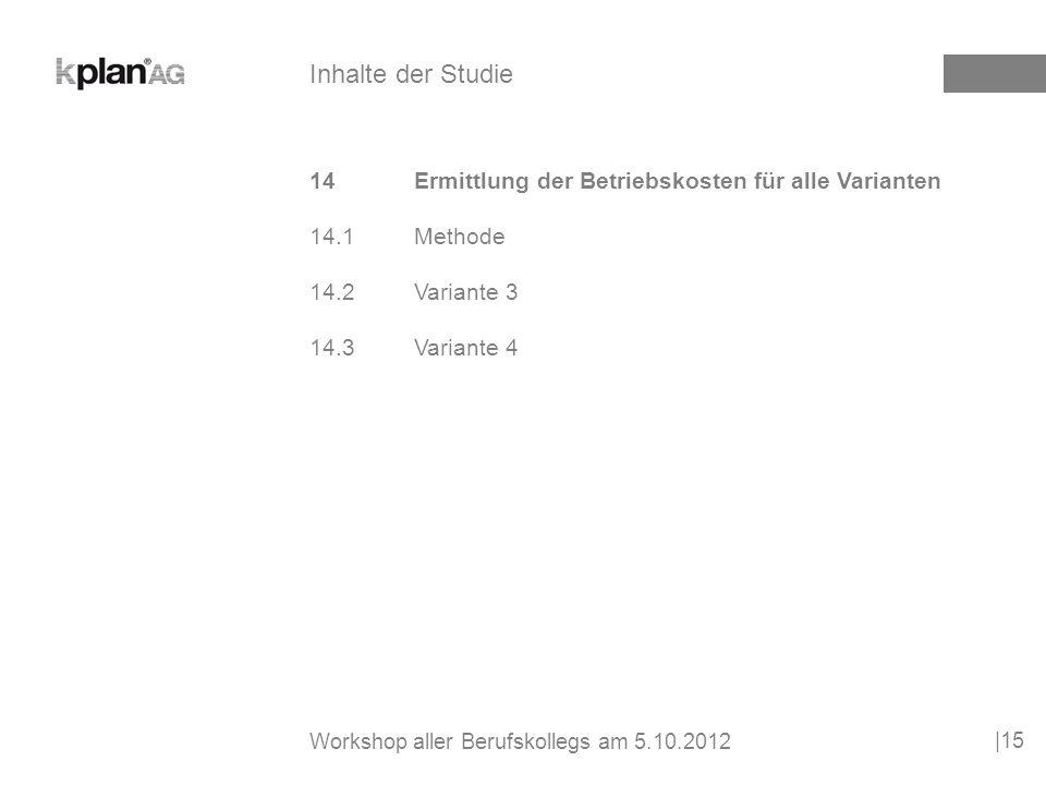 15Wirtschaftlichkeitsberechnung über 30 Jahre |16 Inhalte der Studie Workshop aller Berufskollegs am 5.10.2012