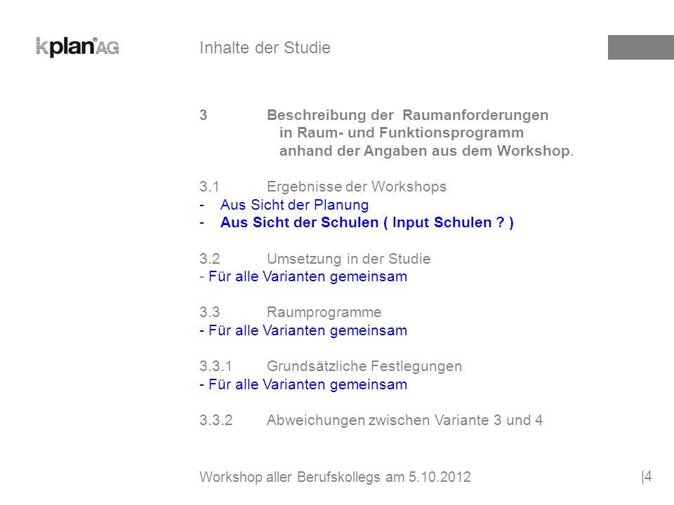 3Beschreibung der Raumanforderungen in Raum- und Funktionsprogramm anhand der Angaben aus dem Workshop.