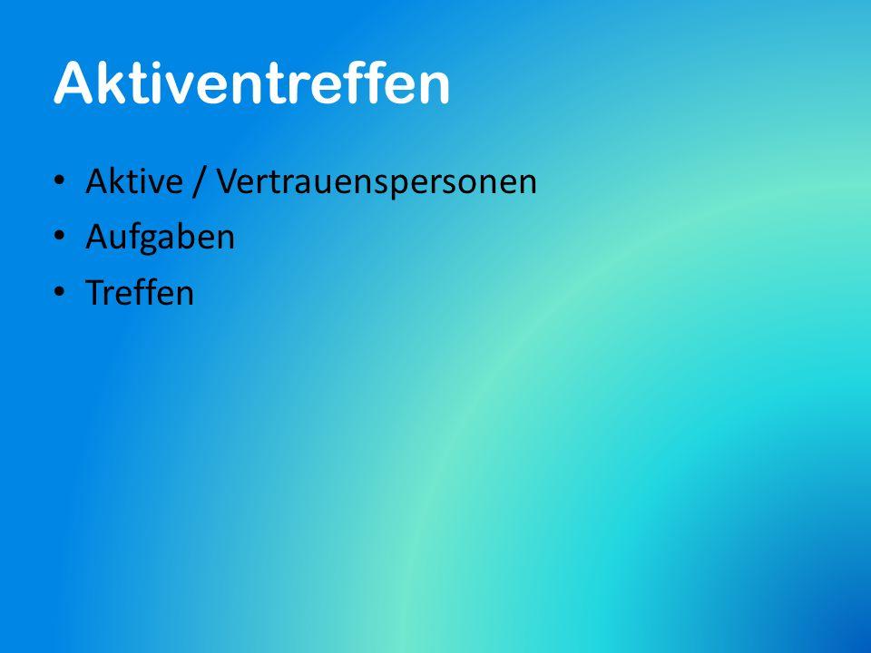 Aktiventreffen Aktive / Vertrauenspersonen Aufgaben Treffen