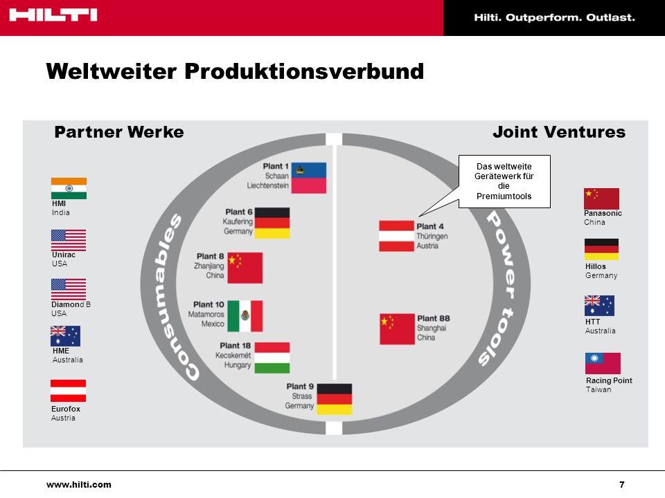 8 www.hilti.com Unternehmensziel: Wir begeistern unsere Kunden und bauen eine bessere Zukunft!