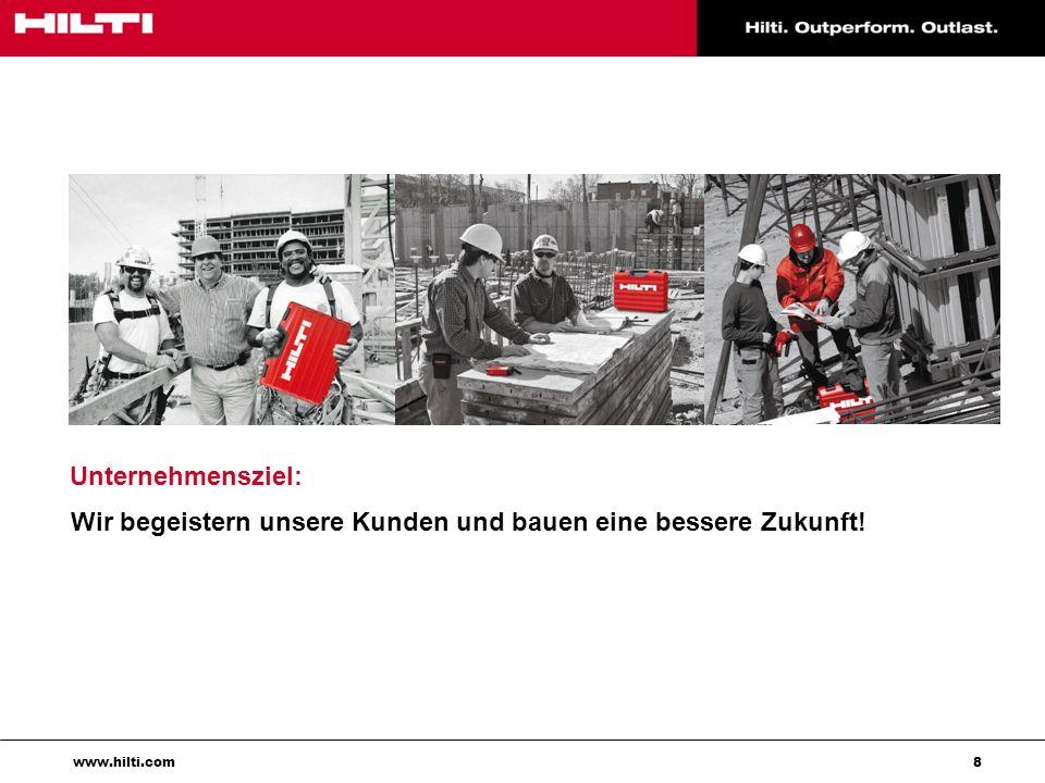 Hilti Thüringen 2012 9 www.hilti.com Hilti Thüringen Werk 4 ● Mitarbeitende490 ● Lehrlinge 80 ● Gesamtfläche 41.850 m² ● Gegründet 1970
