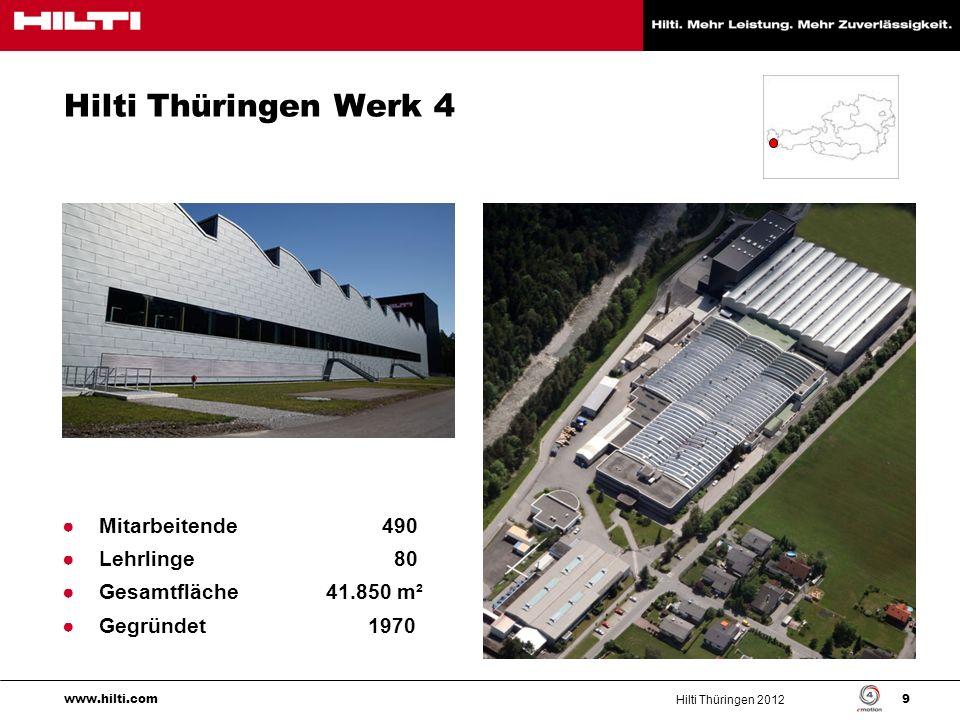 Hilti Thüringen 2012 10 www.hilti.com Bergbau (Min) Produktion für 5 Business Units Bohr- und Abbautechnik (D&D) Diamanttechnik (Dia) Trenn- und Schleiftechnik (C&C) Schraubsysteme (DF) Komplette Geräte Baugruppen, Schlüsselteile, Kommissionierung Direktbefestigung (DF)