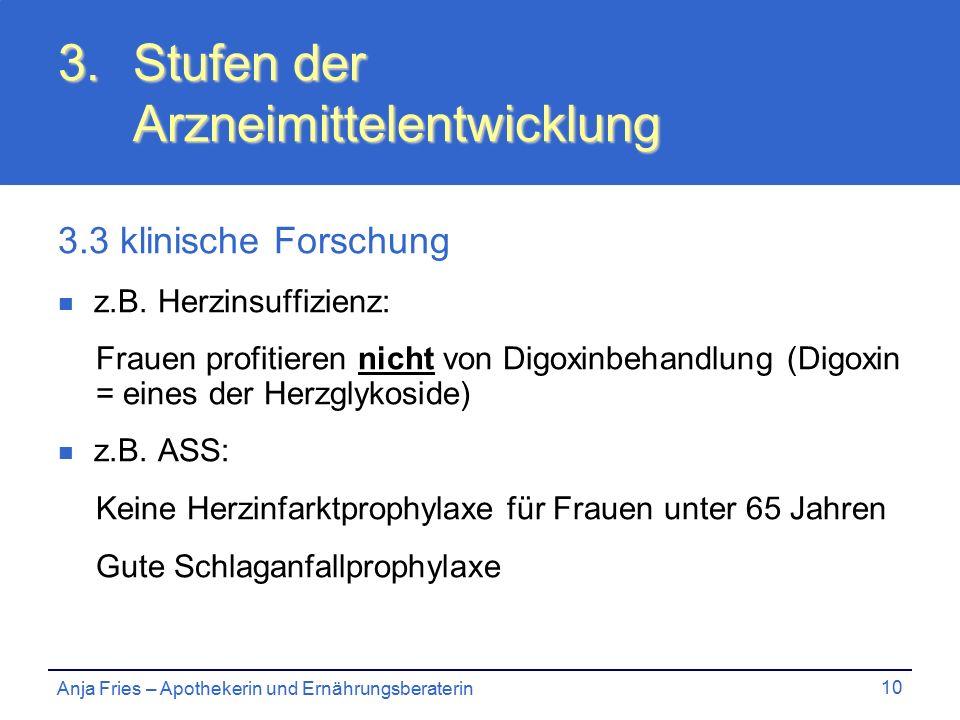 Anja Fries – Apothekerin und Ernährungsberaterin 10 3.Stufen der Arzneimittelentwicklung 3.3 klinische Forschung z.B.