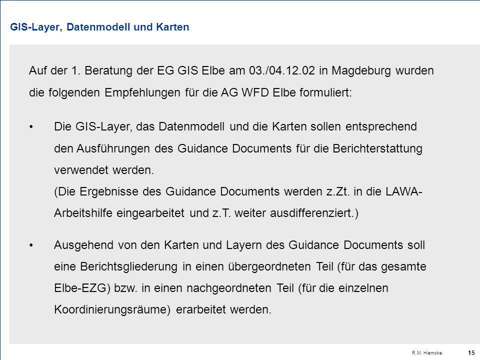 R.M. Hiemcke 15 GIS-Layer, Datenmodell und Karten Die GIS-Layer, das Datenmodell und die Karten sollen entsprechend den Ausführungen des Guidance Docu