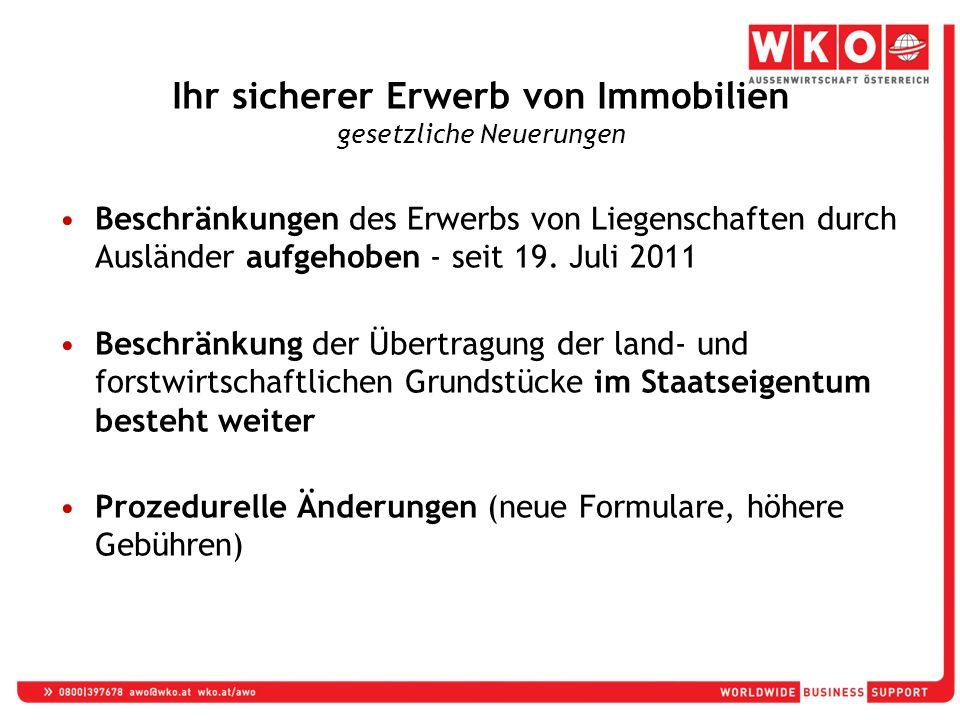 Beschränkungen des Erwerbs von Liegenschaften durch Ausländer aufgehoben - seit 19.