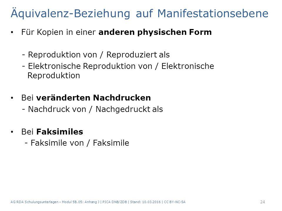 Äquivalenz-Beziehung auf Manifestationsebene Für Kopien in einer anderen physischen Form - Reproduktion von / Reproduziert als - Elektronische Reproduktion von / Elektronische Reproduktion Bei veränderten Nachdrucken - Nachdruck von / Nachgedruckt als Bei Faksimiles - Faksimile von / Faksimile AG RDA Schulungsunterlagen – Modul 5B.05: Anhang J | PICA DNB/ZDB | Stand: 10.03.2016 | CC BY-NC-SA 24
