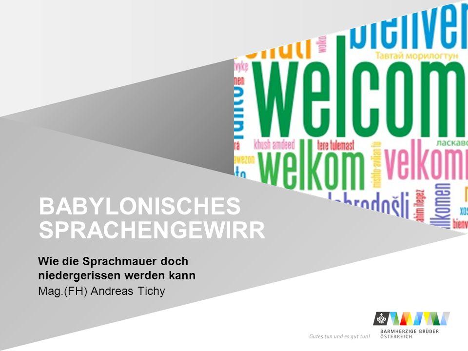 Wie die Sprachmauer doch niedergerissen werden kann Mag.(FH) Andreas Tichy BABYLONISCHES SPRACHENGEWIRR