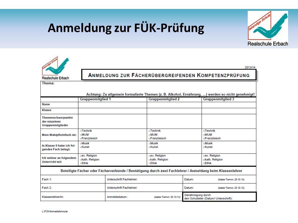 Anmeldung zur FÜK-Prüfung