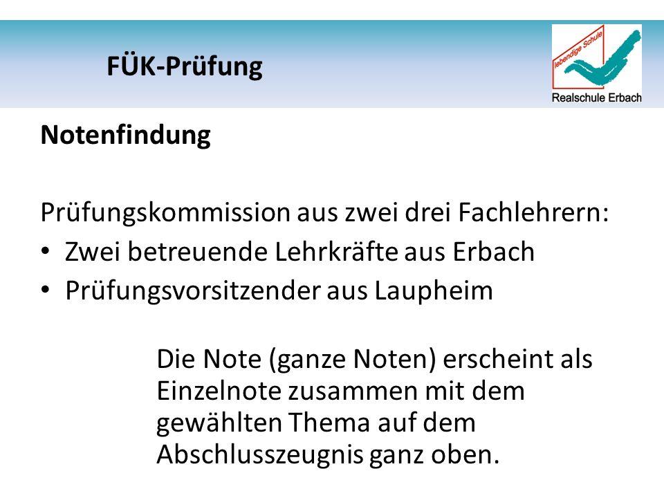 Notenfindung Prüfungskommission aus zwei drei Fachlehrern: Zwei betreuende Lehrkräfte aus Erbach Prüfungsvorsitzender aus Laupheim Die Note (ganze Noten) erscheint als Einzelnote zusammen mit dem gewählten Thema auf dem Abschlusszeugnis ganz oben.