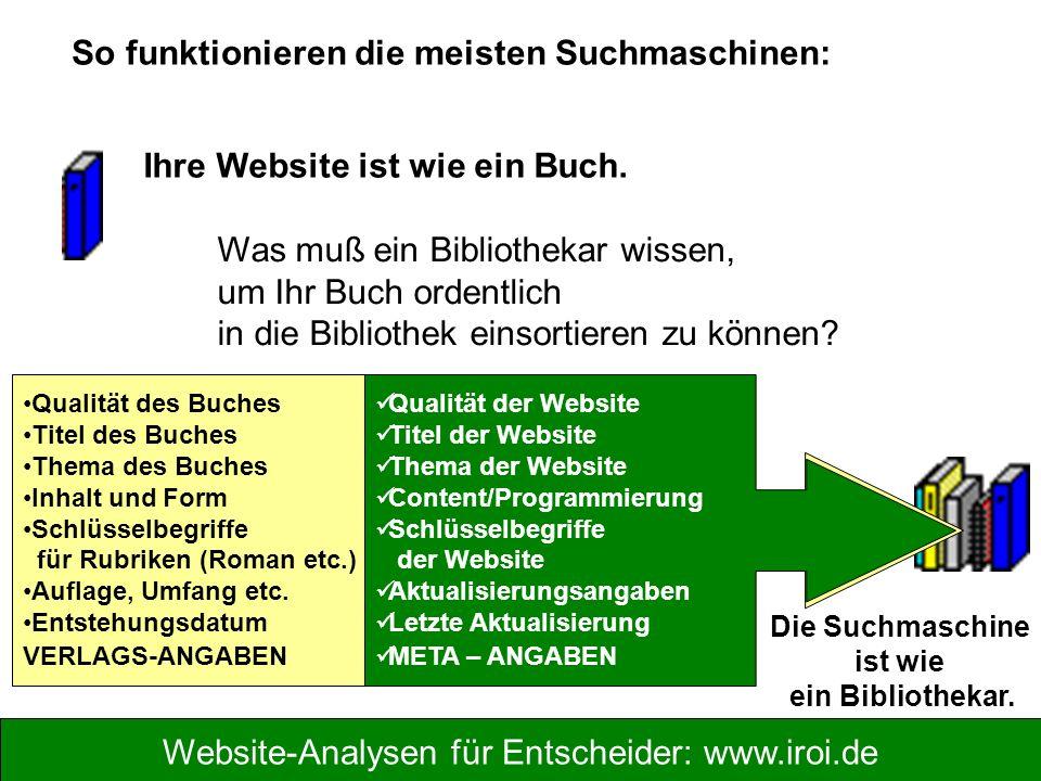 Website-Analysen für Entscheider: www.iroi.de Qualität des Buches Titel des Buches Thema des Buches Inhalt und Form Schlüsselbegriffe für Rubriken (Ro