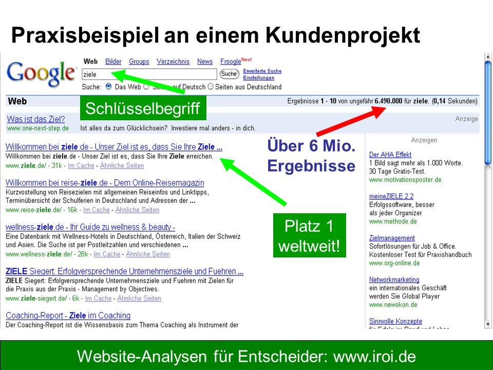 Website-Analysen für Entscheider: www.iroi.de Über 6 Mio. Ergebnisse Platz 1 weltweit! Praxisbeispiel an einem Kundenprojekt Schlüsselbegriff
