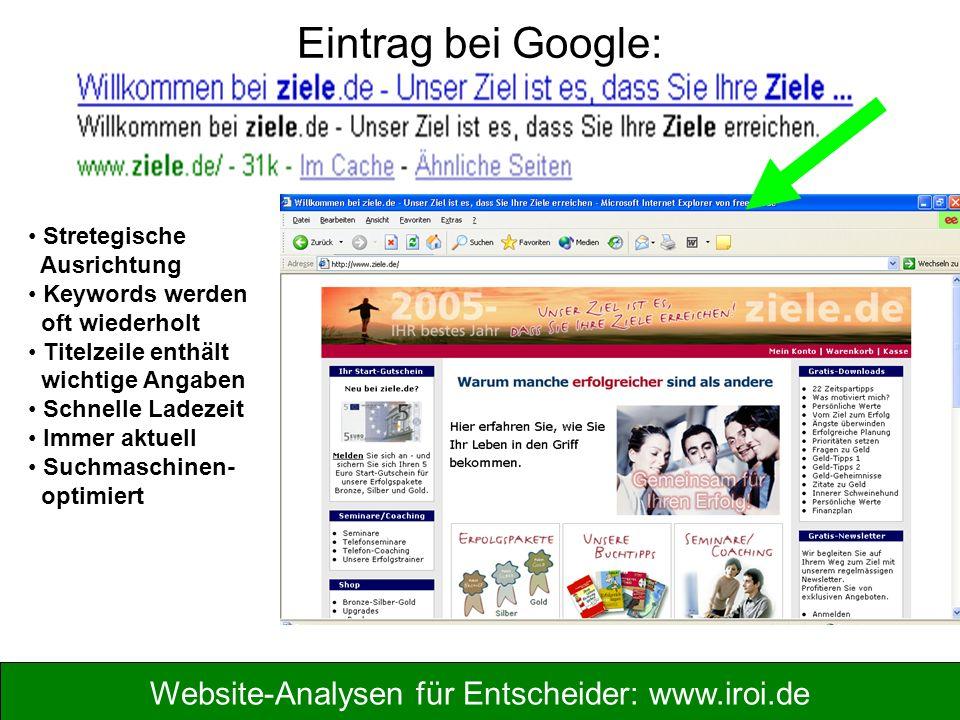 Website-Analysen für Entscheider: www.iroi.de Eintrag bei Google: Stretegische Ausrichtung Keywords werden oft wiederholt Titelzeile enthält wichtige Angaben Schnelle Ladezeit Immer aktuell Suchmaschinen- optimiert
