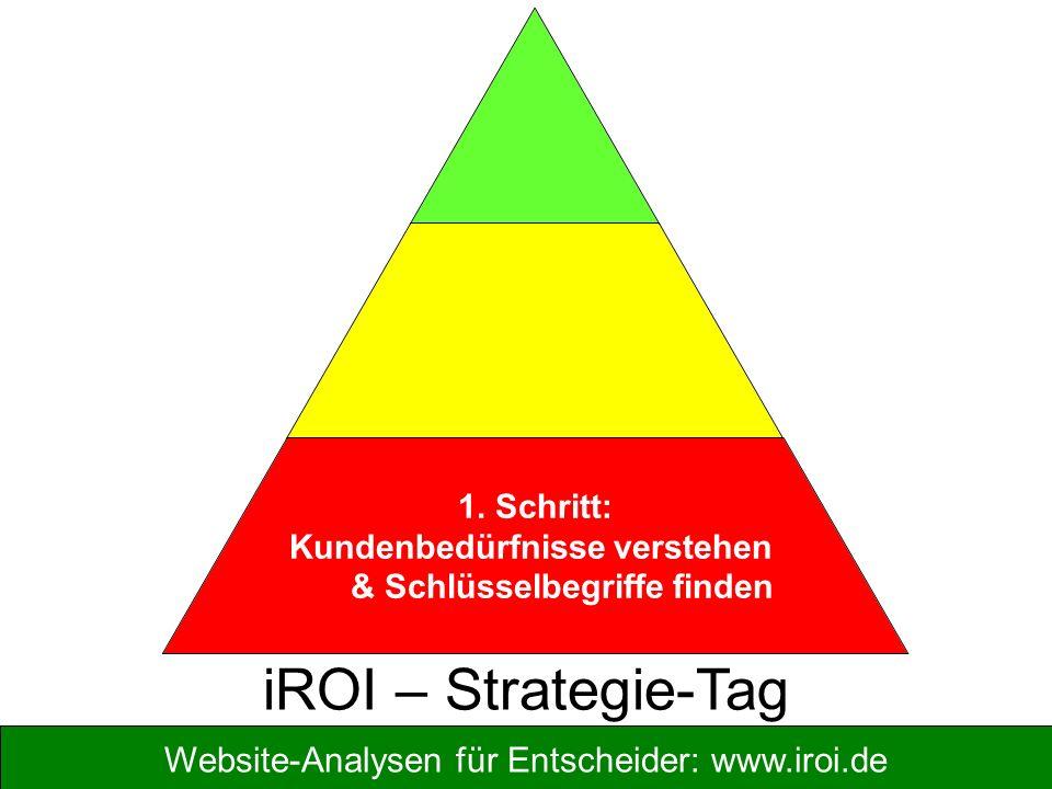 Website-Analysen für Entscheider: www.iroi.de 1. Schritt: Kundenbedürfnisse verstehen & Schlüsselbegriffe finden iROI – Strategie-Tag