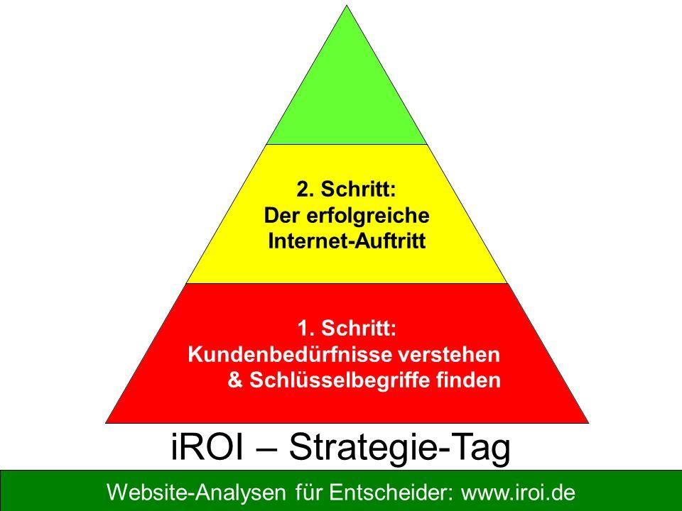 Website-Analysen für Entscheider: www.iroi.de 2. Schritt: Der erfolgreiche Internet-Auftritt 1. Schritt: Kundenbedürfnisse verstehen & Schlüsselbegrif