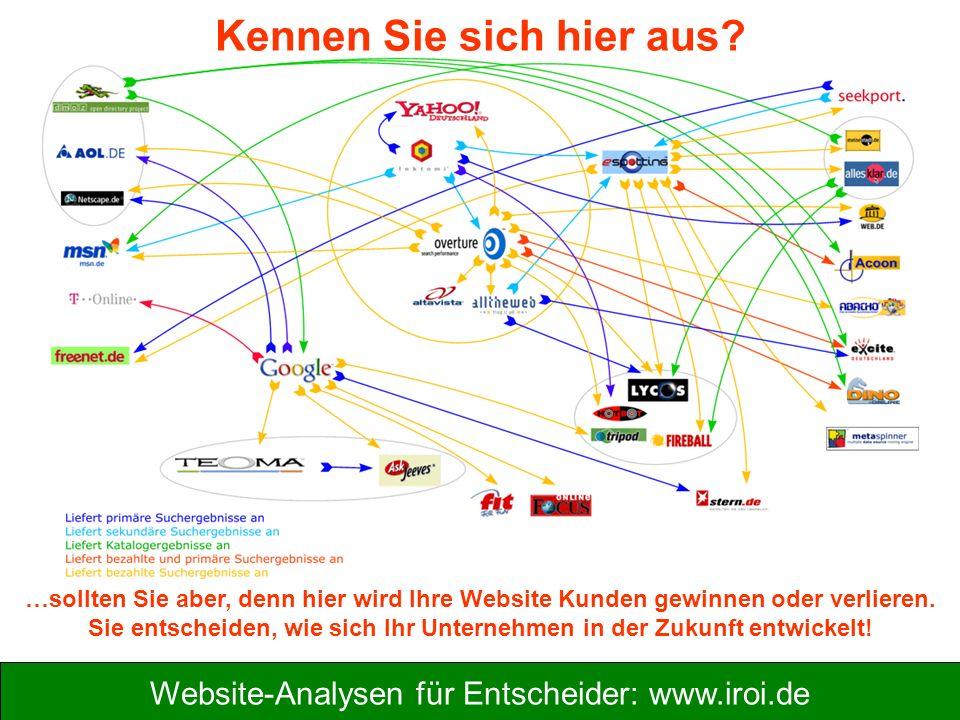 Website-Analysen für Entscheider: www.iroi.de Kennen Sie sich hier aus? …sollten Sie aber, denn hier wird Ihre Website Kunden gewinnen oder verlieren.